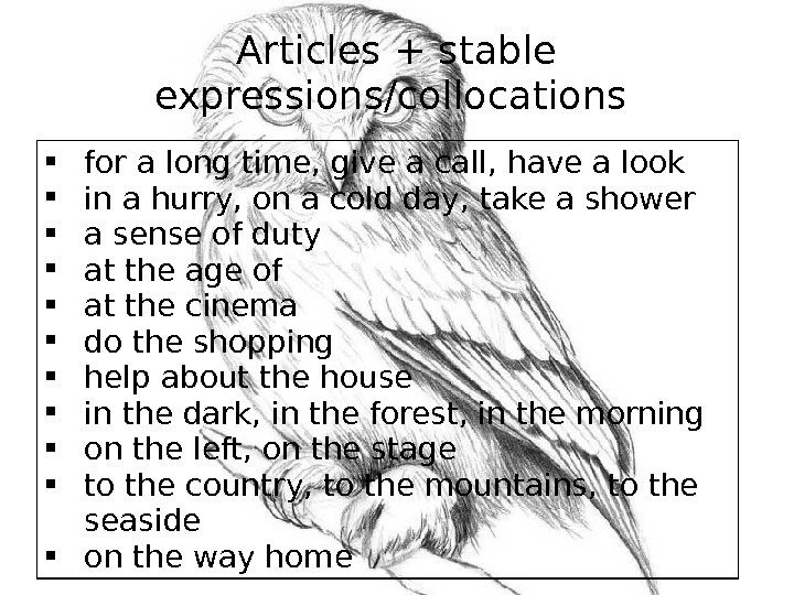 Articles + stable expressions/collocations  for a long time, give a call, have a