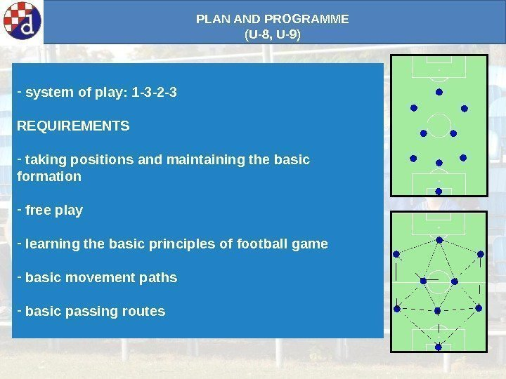 PLAN AND PROGRAMME (U-8, U-9) -  system of play: 1 -3 -2 -3
