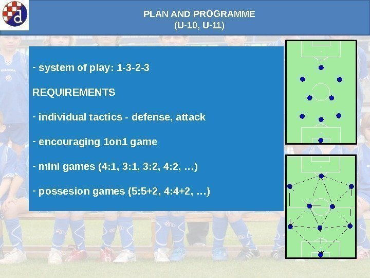 PLAN AND PROGRAMME (U-10, U-11) -  system of play: 1 -3 -2 -3