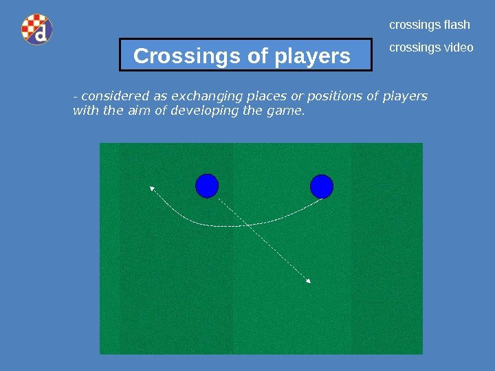 Crossings of players - considered as exchanging places or positions of players with the