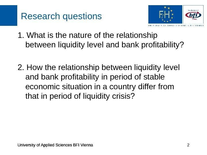 University of Applied Sciences BFI Vienna Research questions University of Applied Sciences BFI Vienna
