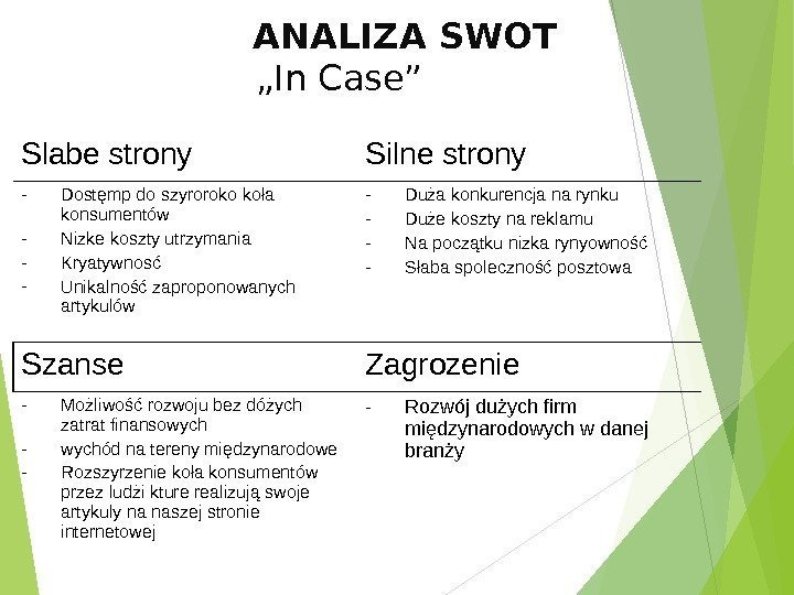"ANALIZA SWOT ""In Case"" Slabe strony Silne strony - Dostęmp do"