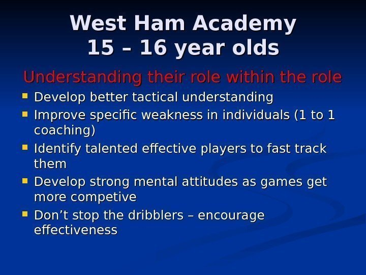 West Ham Academy 15 – 16 year olds Understanding their role within