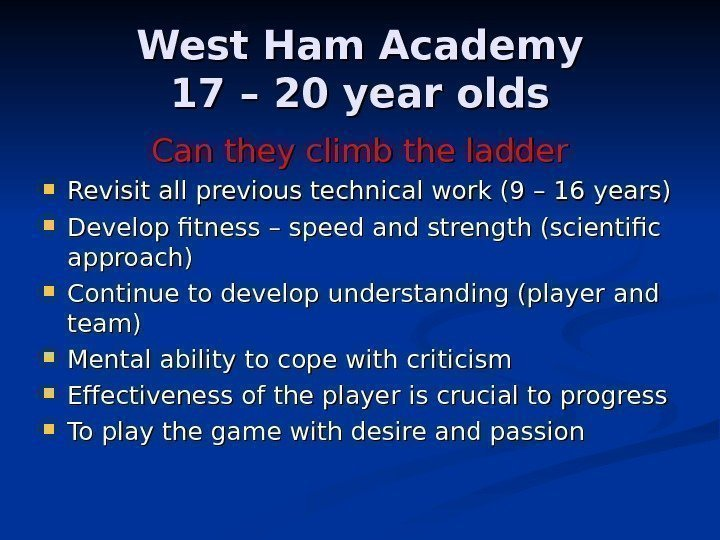 West Ham Academy 17 – 20 year olds Can they climb the