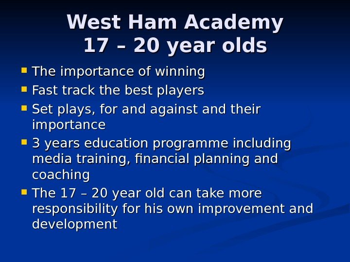 West Ham Academy 17 – 20 year olds The importance of winning