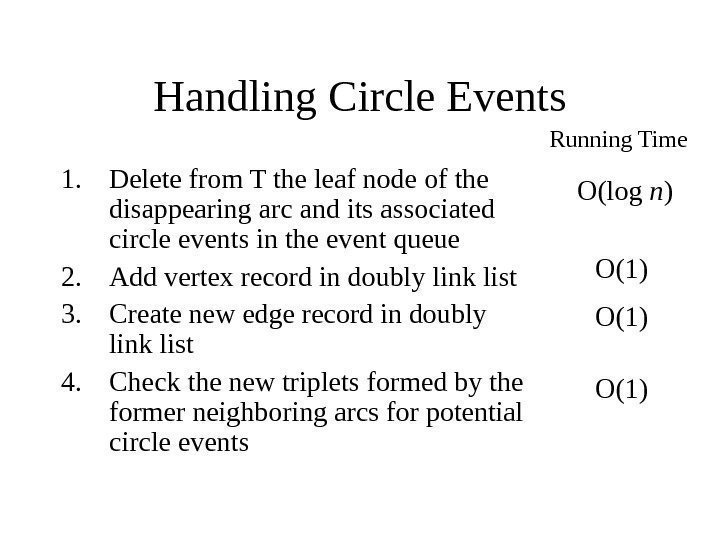 Handling Circle Events 1. Delete from T the leaf node of the