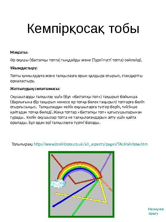 Кемпір оса тобық қ Толығырақ :  http: //www. brainboxx. co. uk/a 3_aspects/pages/TALKrainbow. htm