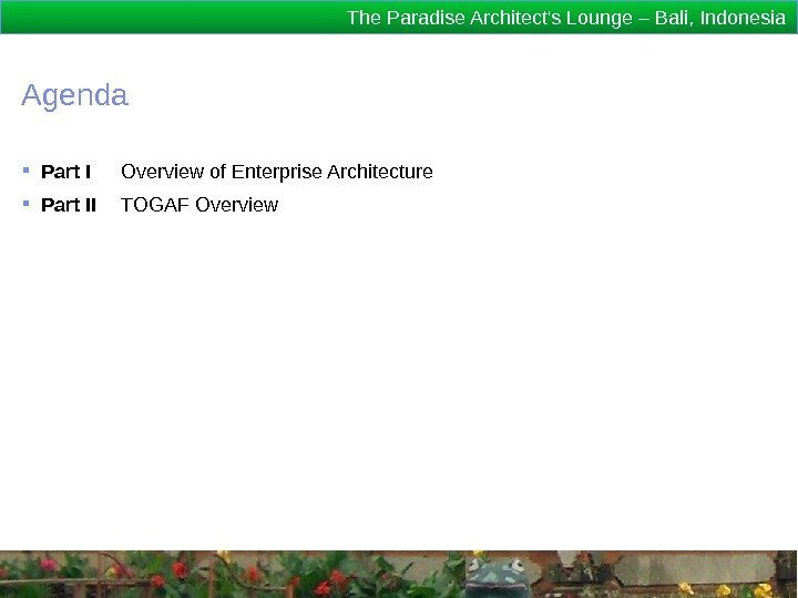 The Paradise Architect's Lounge – Bali, Indonesia Agenda Part I Overview of Enterprise Architecture