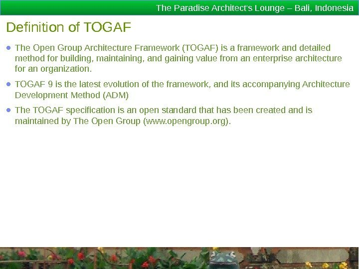 The Paradise Architect's Lounge – Bali, Indonesia Definition of TOGAF ● The Open Group