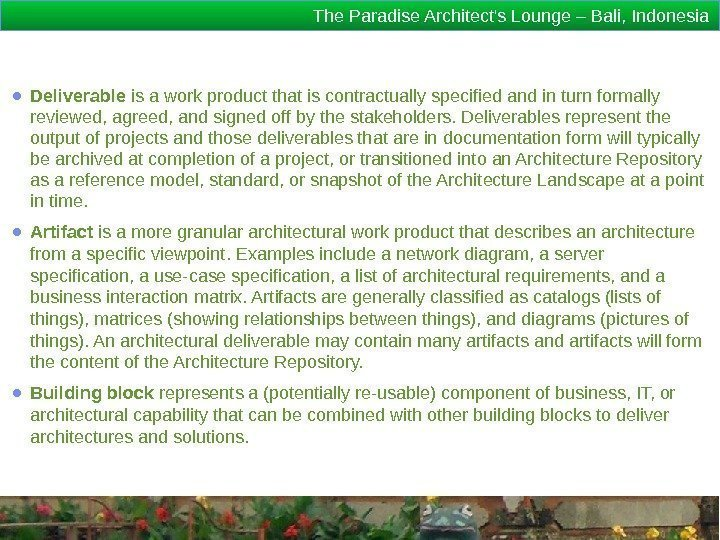 The Paradise Architect's Lounge – Bali, Indonesia ● Deliverable is a work product that