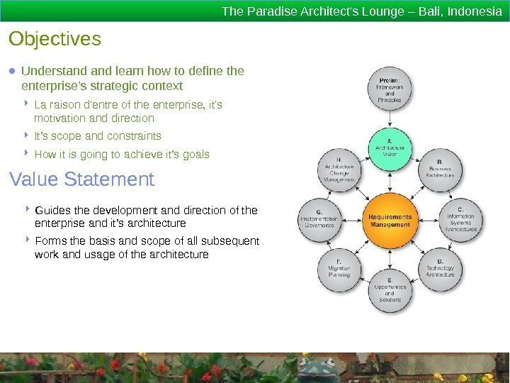 The Paradise Architect's Lounge – Bali, Indonesia Objectives ● Understand learn how to define