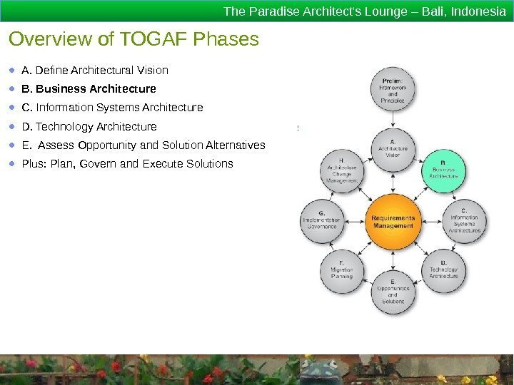 The Paradise Architect's Lounge – Bali, Indonesia Overview of TOGAF Phases ● A. Define