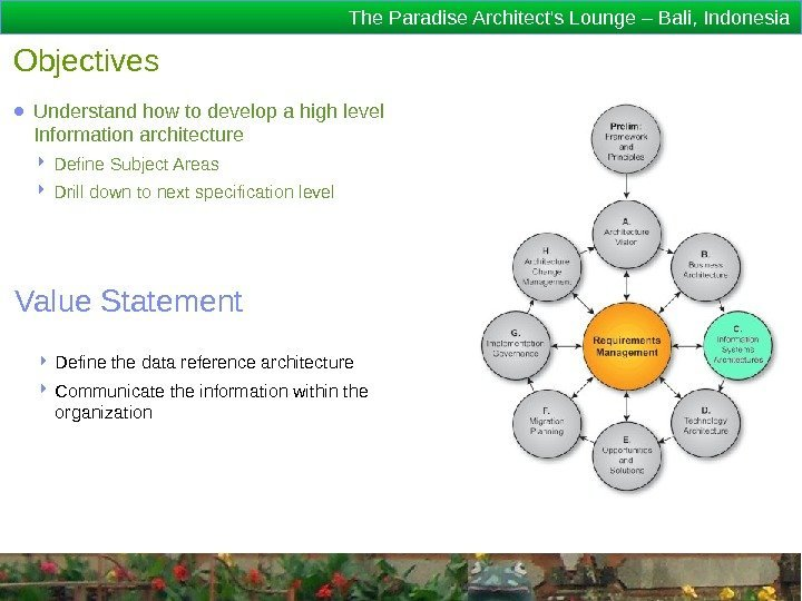 The Paradise Architect's Lounge – Bali, Indonesia Objectives ● Understand how to develop a