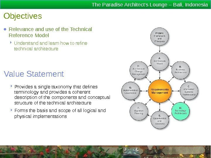 The Paradise Architect's Lounge – Bali, Indonesia Objectives ● Relevance and use of the