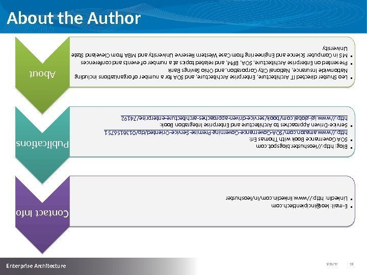 1/25/17   18  Enterprise Architecture About the Author. About • Leo Shuster