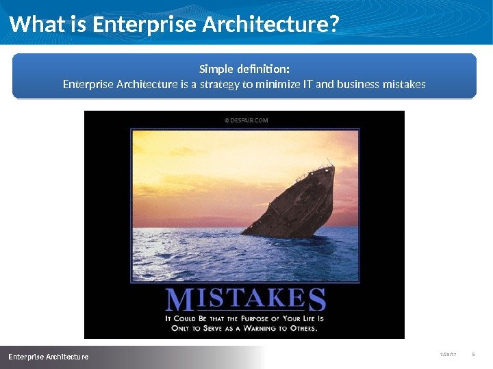 1/25/17   5  Enterprise Architecture What is Enterprise Architecture? Simple definition: Enterprise