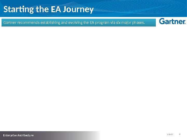 1/25/17   9  Enterprise Architecture Starting the EA Journey Gartner recommends establishing