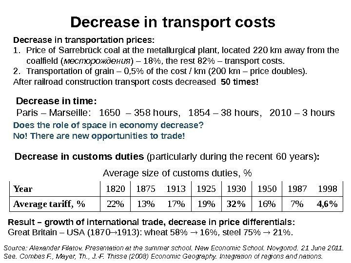 Decrease in transport costs Decrease in transportation prices : 1. Price of Sarrebrück coal