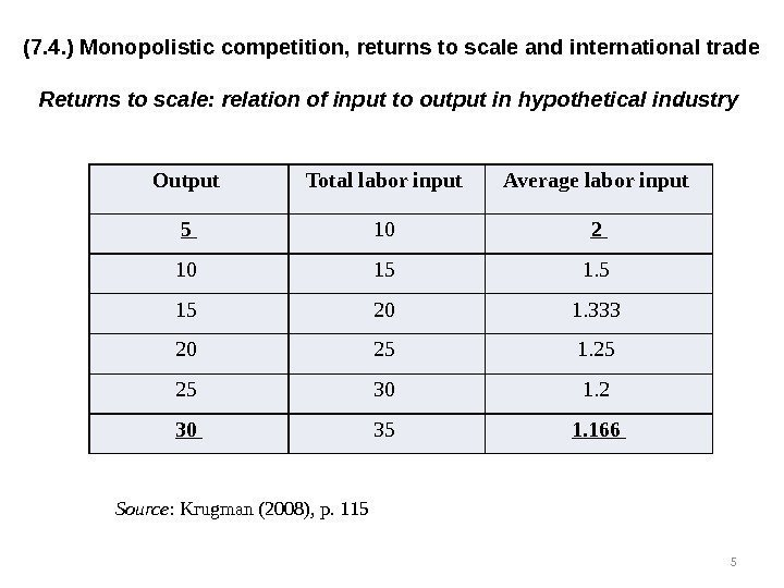 (7. 4. ) Monopolistic competition, returns to scale and international trade Returns to scale: