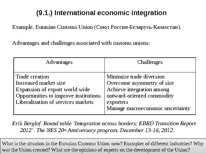 (9. 1. ) International economic integration Example. Eurasian Customs Union (Союз Россия-Беларусь-Казахстан). Advantages and