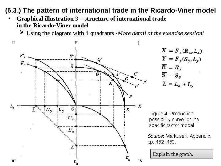 (6. 3. ) The pattern of international trade in the Ricardo-Viner model • Graphical