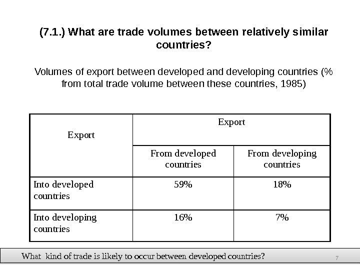 (7. 1. ) What are trade volumes between relatively similar countries? Volumes of export