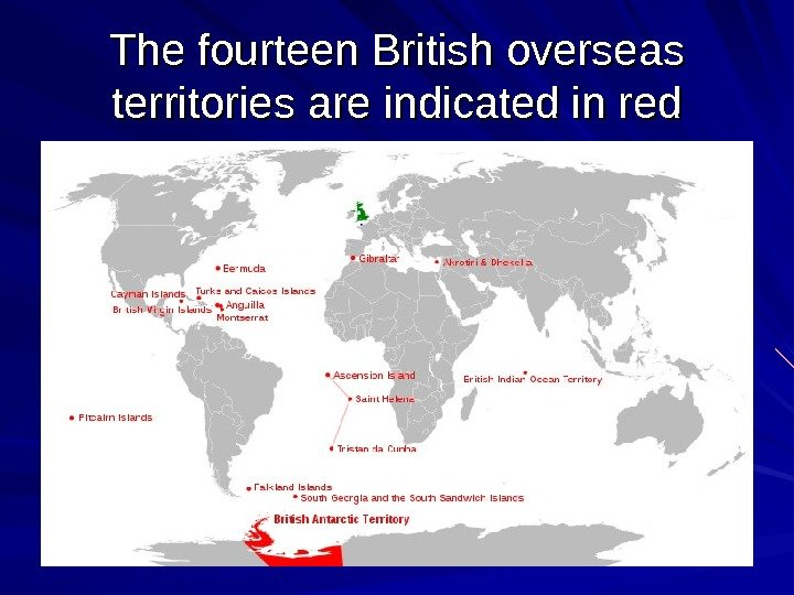 The fourteen British overseas territories are indicated in red