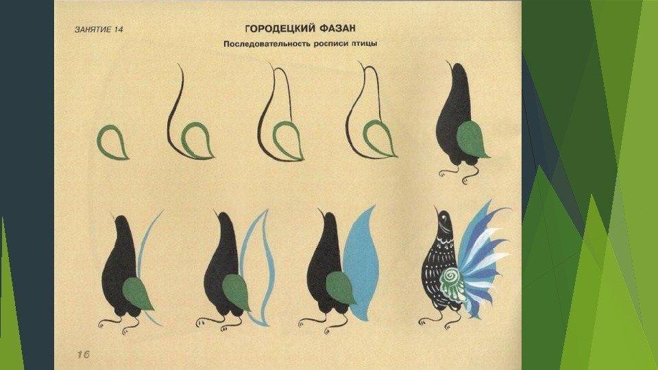 Городецкие птицы как рисовать 175