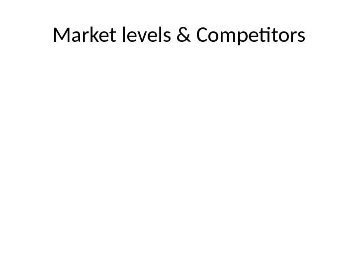 Market levels & Competitors