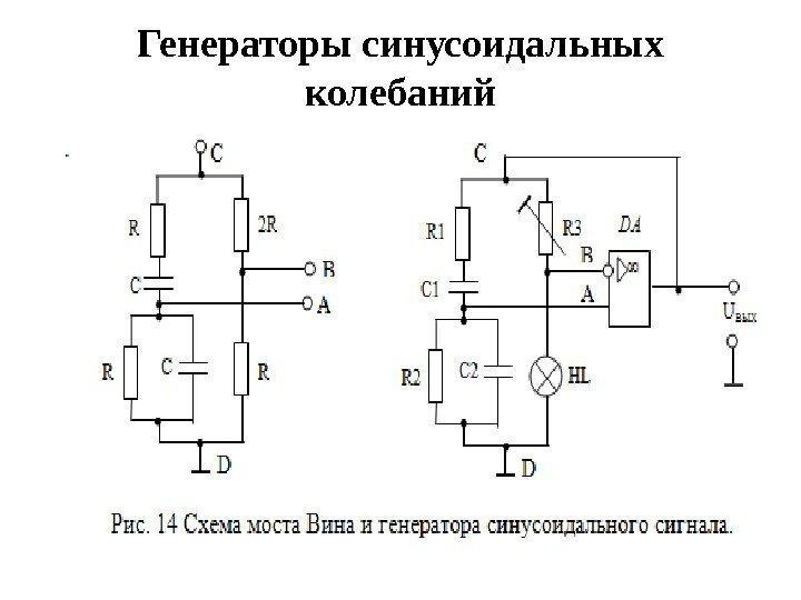 Схемы генератора синусоидальных колебаний на