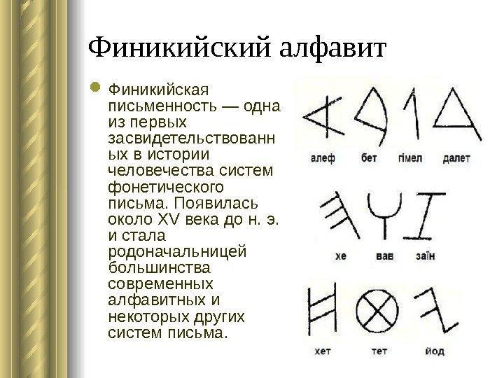 Финикийский алфавит Финикийская графика — одна изо первых засвидетельствованн ых во истории человечества