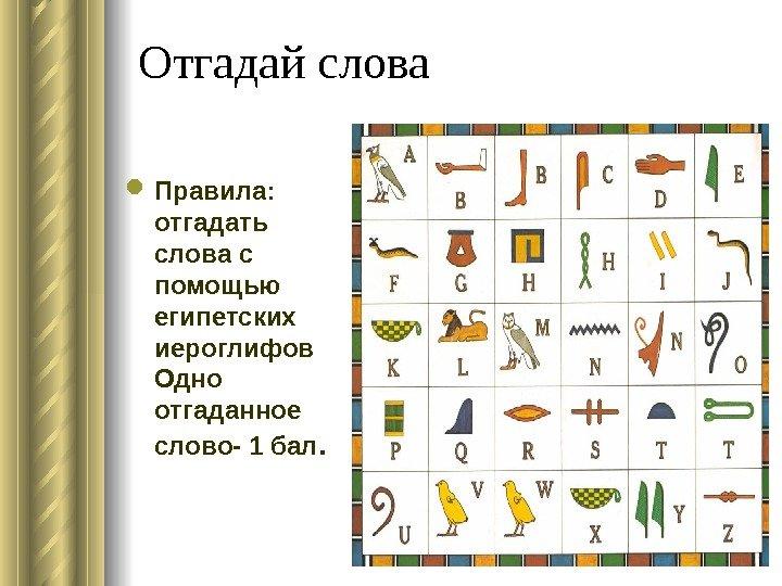 Отгадай болтовня Правила : разузнать плетение словес  со через египетских иероглифов Одно отгаданное слово-