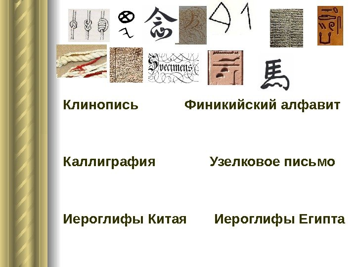 Клинопись Финикийский алфавит Каллиграфия Узелковое весточка Иероглифы Китая Иероглифы Египта