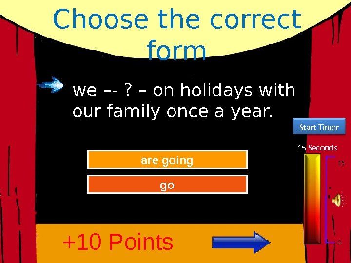 Choose the correct form 15 Seconds Start Timer 15 0 Try Again Great Job!are