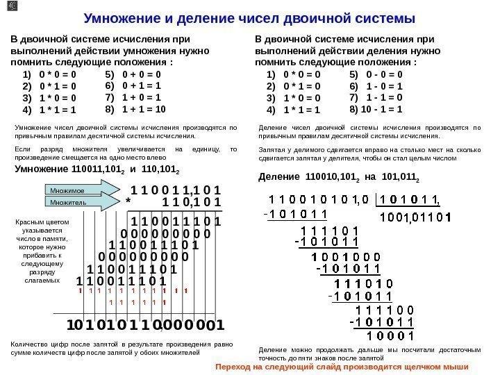 Операция сложения в двоичной системе счисления 0 + 0 = 0 0 + 1 = 1 1 + 0 = 1 1 + 1 = 1 0 1 + 1+1 = 11 ( 1 0 + 1)