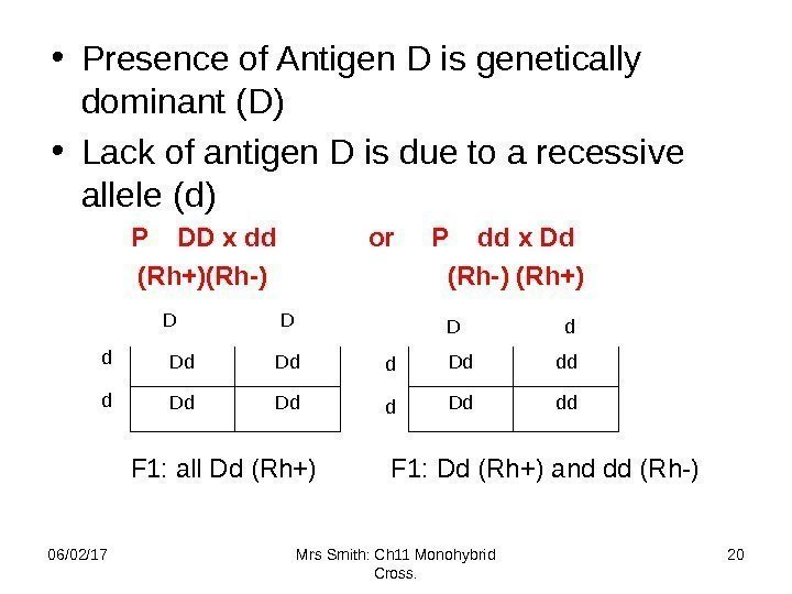 • Presence of Antigen D is genetically dominant (D) • Lack of antigen