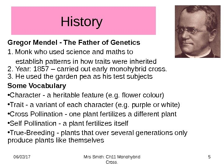 History Gregor Mendel - The Father of Genetics 1.  Monk who used science