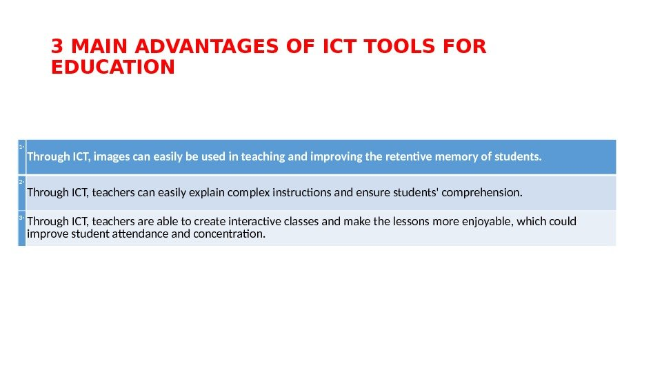 3 MAIN ADVANTAGES OF ICT TOOLS FOR EDUCATION 1‧ Through ICT, images can easily