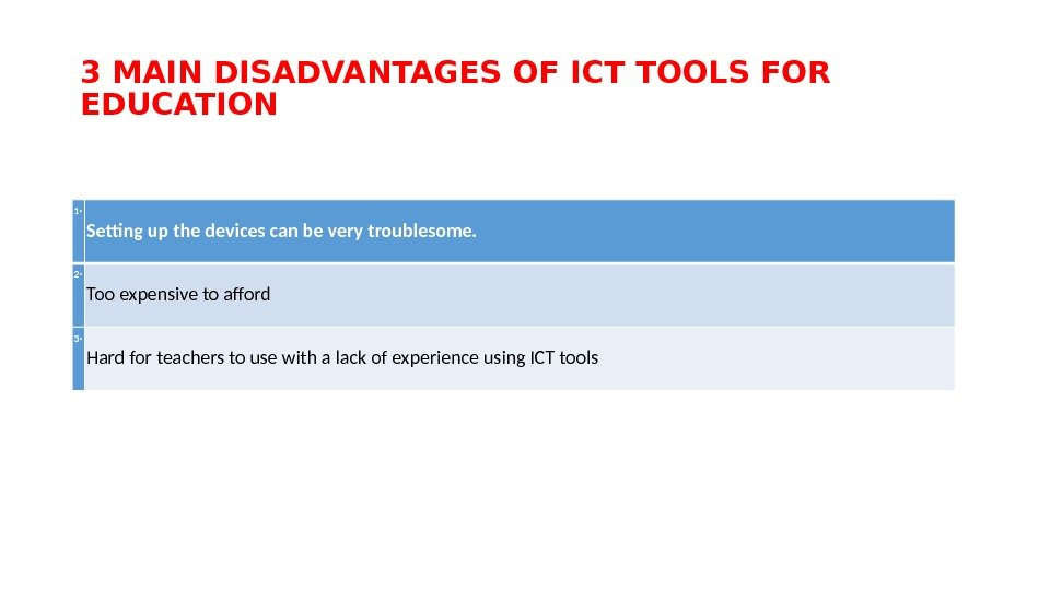 3 MAIN DISADVANTAGES OF ICT TOOLS FOR EDUCATION 1‧ Setting up the devices can