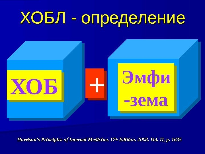 ХОБЛ - определение Harrison's Principles of Internal Medicine. 17 thth Edition. 2008. Vol. II,