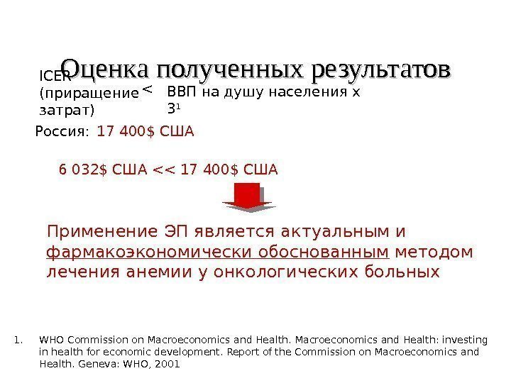 Оценка полученных результатов 1. WHO Commission on Macroeconomics and Health: investing in health for