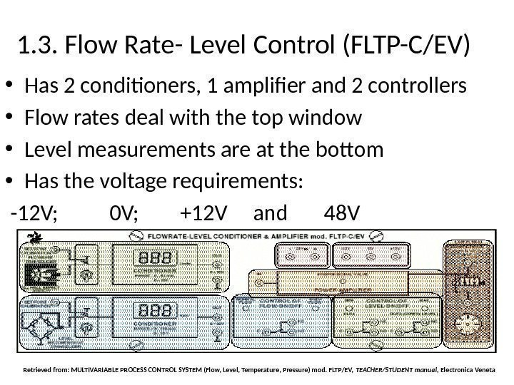 1. 3. Flow Rate- Level Control (FLTP-C/EV) • Has 2 conditioners, 1 amplifier and