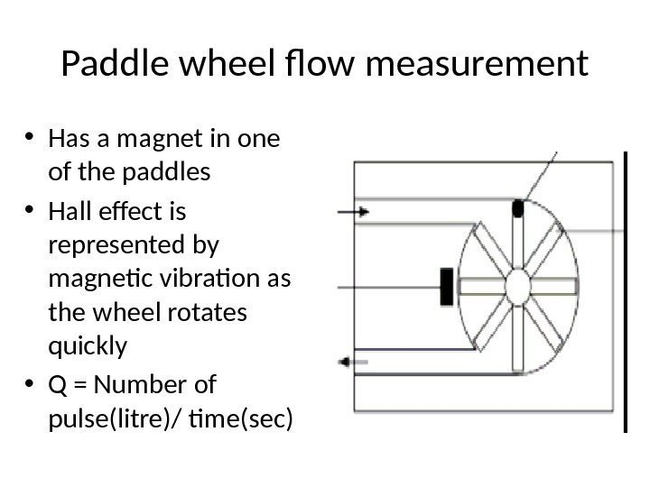 Paddle wheel flow measurement • Has a magnet in one of the paddles •