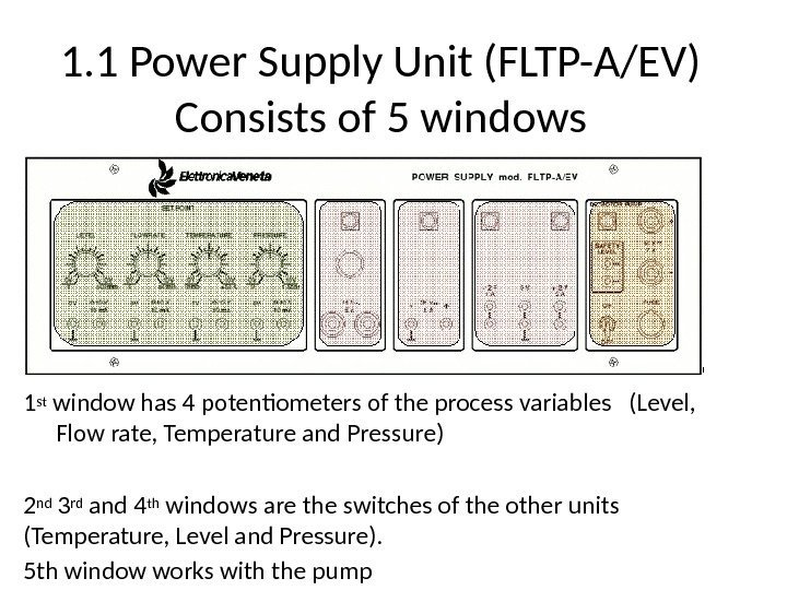 1. 1 Power Supply Unit (FLTP-A/EV) Consists of 5 windows 1 st window has