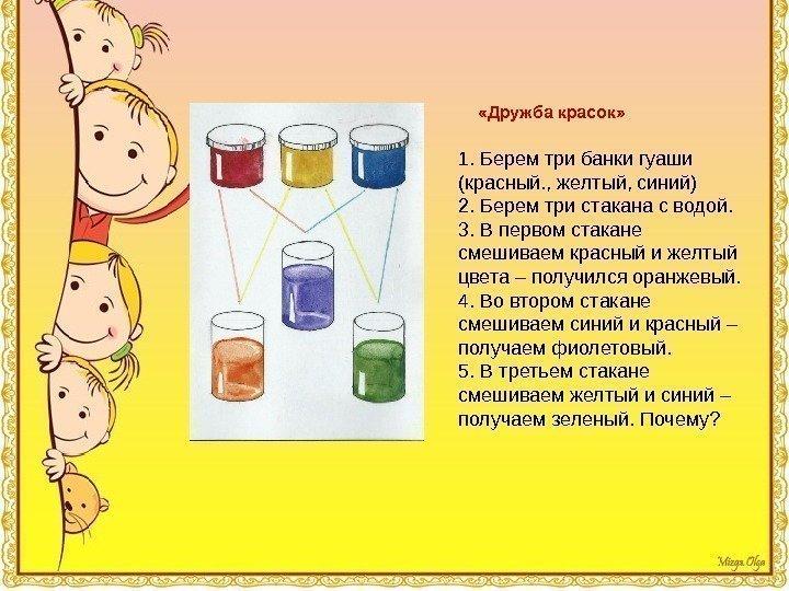 «Дружба красок» 1. Берем три банки гуаши (красный., желтый, синий) 2. Берем