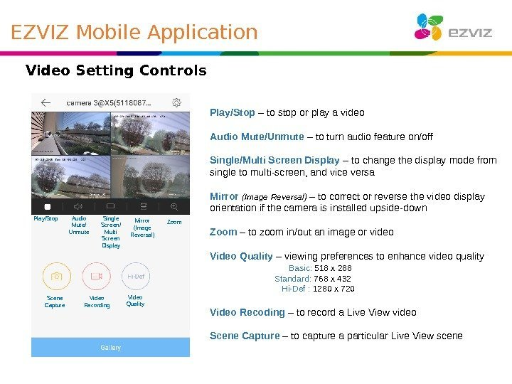 Video Setting Controls Play/Stop Audio Mute/ Unmute Single Screen/ Multi Screen Display Mirror (Image