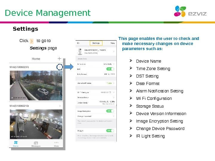 Device Management Click  to go to  Settings  page This page