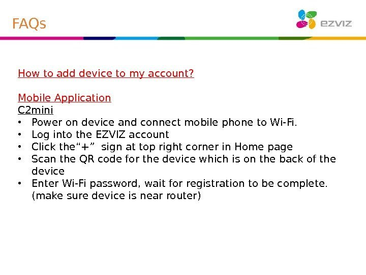 How to add device to my account? Mobile Application C 2 mini • Power