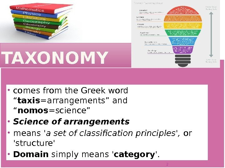 "TAXONOMY comes from the Greek word "" taxis =arrangements"" and "" nomos =science"" Science"