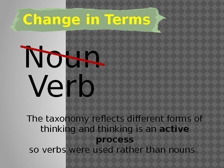 Change in Terms Noun Verb The taxonomy reflects different forms of thinking and thinking